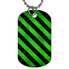Stripes3 Black Marble & Green Brushed Metal (r) Dog Tag (two Sides)