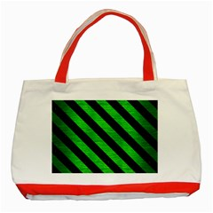 Stripes3 Black Marble & Green Brushed Metal (r) Classic Tote Bag (red)