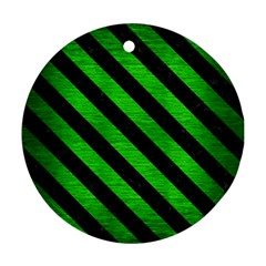 Stripes3 Black Marble & Green Brushed Metal (r) Round Ornament (two Sides)