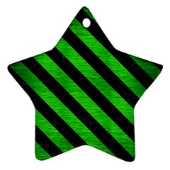 Stripes3 Black Marble & Green Brushed Metal (r) Star Ornament (two Sides)