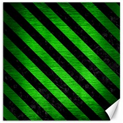 Stripes3 Black Marble & Green Brushed Metal (r) Canvas 20  X 20