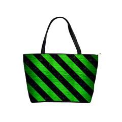 Stripes3 Black Marble & Green Brushed Metal (r) Shoulder Handbags