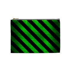 Stripes3 Black Marble & Green Brushed Metal (r) Cosmetic Bag (medium)