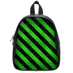 Stripes3 Black Marble & Green Brushed Metal (r) School Bag (small)