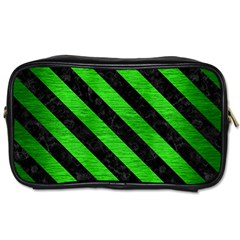 Stripes3 Black Marble & Green Brushed Metal (r) Toiletries Bags