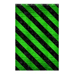 Stripes3 Black Marble & Green Brushed Metal (r) Shower Curtain 48  X 72  (small)