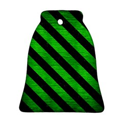 Stripes3 Black Marble & Green Brushed Metal (r) Bell Ornament (two Sides)