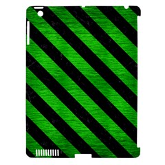 Stripes3 Black Marble & Green Brushed Metal (r) Apple Ipad 3/4 Hardshell Case (compatible With Smart Cover)