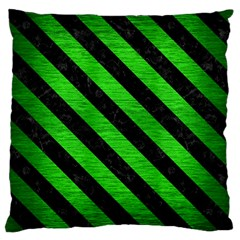 Stripes3 Black Marble & Green Brushed Metal (r) Large Cushion Case (two Sides)