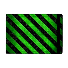 Stripes3 Black Marble & Green Brushed Metal (r) Apple Ipad Mini Flip Case