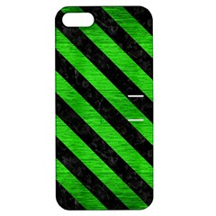Stripes3 Black Marble & Green Brushed Metal (r) Apple Iphone 5 Hardshell Case With Stand
