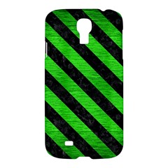 Stripes3 Black Marble & Green Brushed Metal (r) Samsung Galaxy S4 I9500/i9505 Hardshell Case