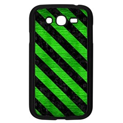 Stripes3 Black Marble & Green Brushed Metal (r) Samsung Galaxy Grand Duos I9082 Case (black)