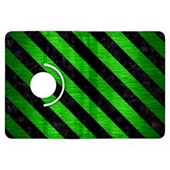 Stripes3 Black Marble & Green Brushed Metal (r) Kindle Fire Hdx Flip 360 Case