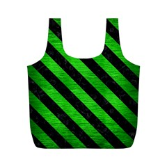 Stripes3 Black Marble & Green Brushed Metal (r) Full Print Recycle Bags (m)