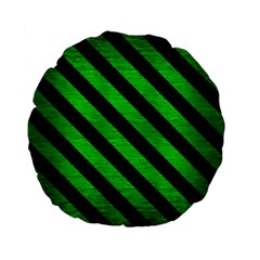 Stripes3 Black Marble & Green Brushed Metal (r) Standard 15  Premium Flano Round Cushions