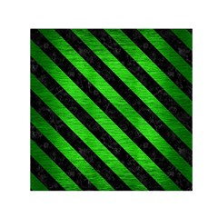 Stripes3 Black Marble & Green Brushed Metal (r) Small Satin Scarf (square)