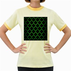 Tile1 Black Marble & Green Brushed Metal Women s Fitted Ringer T Shirts