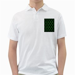 Tile1 Black Marble & Green Brushed Metal Golf Shirts