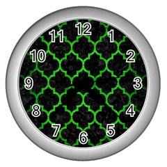 Tile1 Black Marble & Green Brushed Metal Wall Clocks (silver)