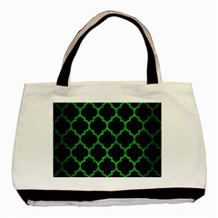 Tile1 Black Marble & Green Brushed Metal Basic Tote Bag