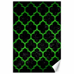 Tile1 Black Marble & Green Brushed Metal Canvas 24  X 36