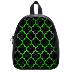 Tile1 Black Marble & Green Brushed Metal School Bag (small)