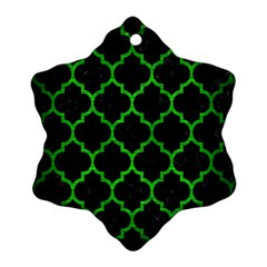 Tile1 Black Marble & Green Brushed Metal Snowflake Ornament (two Sides)