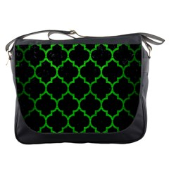 Tile1 Black Marble & Green Brushed Metal Messenger Bags