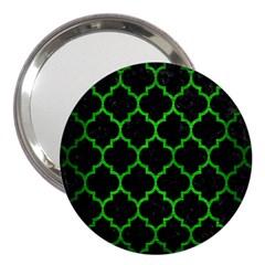 Tile1 Black Marble & Green Brushed Metal 3  Handbag Mirrors