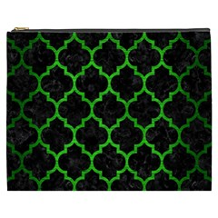 Tile1 Black Marble & Green Brushed Metal Cosmetic Bag (xxxl)