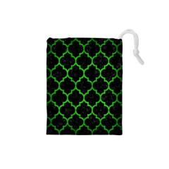 Tile1 Black Marble & Green Brushed Metal Drawstring Pouches (small)