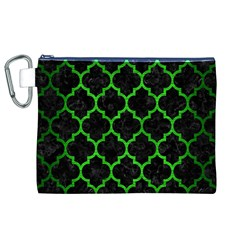 Tile1 Black Marble & Green Brushed Metal Canvas Cosmetic Bag (xl)