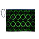 TILE1 BLACK MARBLE & GREEN BRUSHED METAL Canvas Cosmetic Bag (XL) Front