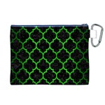 TILE1 BLACK MARBLE & GREEN BRUSHED METAL Canvas Cosmetic Bag (XL) Back