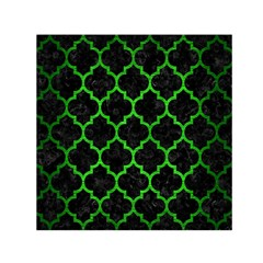 Tile1 Black Marble & Green Brushed Metal Small Satin Scarf (square)