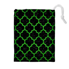 Tile1 Black Marble & Green Brushed Metal Drawstring Pouches (extra Large)