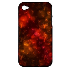 Spiders On Red Apple Iphone 4/4s Hardshell Case (pc+silicone)