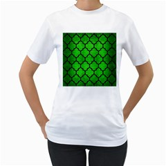 Tile1 Black Marble & Green Brushed Metal (r) Women s T Shirt (white) (two Sided)