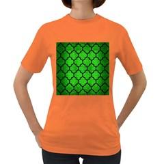 Tile1 Black Marble & Green Brushed Metal (r) Women s Dark T Shirt