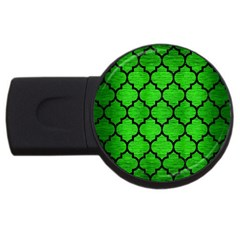 Tile1 Black Marble & Green Brushed Metal (r) Usb Flash Drive Round (4 Gb)