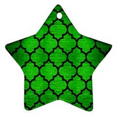 Tile1 Black Marble & Green Brushed Metal (r) Star Ornament (two Sides)