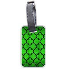 Tile1 Black Marble & Green Brushed Metal (r) Luggage Tags (two Sides)