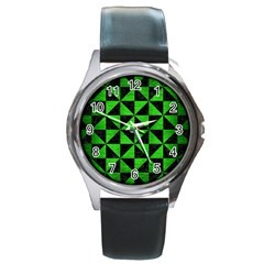 Triangle1 Black Marble & Green Brushed Metal Round Metal Watch