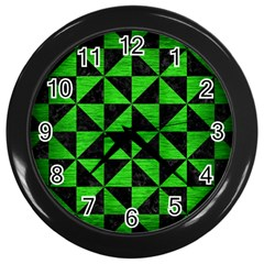 Triangle1 Black Marble & Green Brushed Metal Wall Clocks (black)