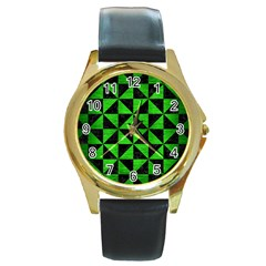 Triangle1 Black Marble & Green Brushed Metal Round Gold Metal Watch