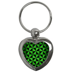 Triangle1 Black Marble & Green Brushed Metal Key Chains (heart)