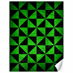 Triangle1 Black Marble & Green Brushed Metal Canvas 12  X 16