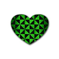 Triangle1 Black Marble & Green Brushed Metal Rubber Coaster (heart)