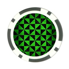 Triangle1 Black Marble & Green Brushed Metal Poker Chip Card Guard (10 Pack)